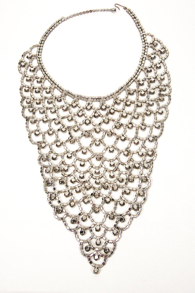 Sparkling Rhinestone Bib Statement Necklace - Vintage Meet Modern  - 4
