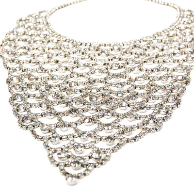 Sparkling Rhinestone Bib Statement Necklace by Unsigned Beauty - Vintage Meet Modern Vintage Jewelry - Chicago, Illinois - #oldhollywoodglamour #vintagemeetmodern #designervintage #jewelrybox #antiquejewelry #vintagejewelry