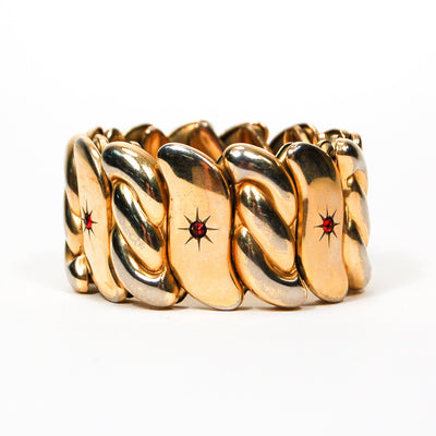 Bugbee and Niles Gold Expansion Bracelet with Red Rhinestones by Bugbee and Niles - Vintage Meet Modern Vintage Jewelry - Chicago, Illinois - #oldhollywoodglamour #vintagemeetmodern #designervintage #jewelrybox #antiquejewelry #vintagejewelry