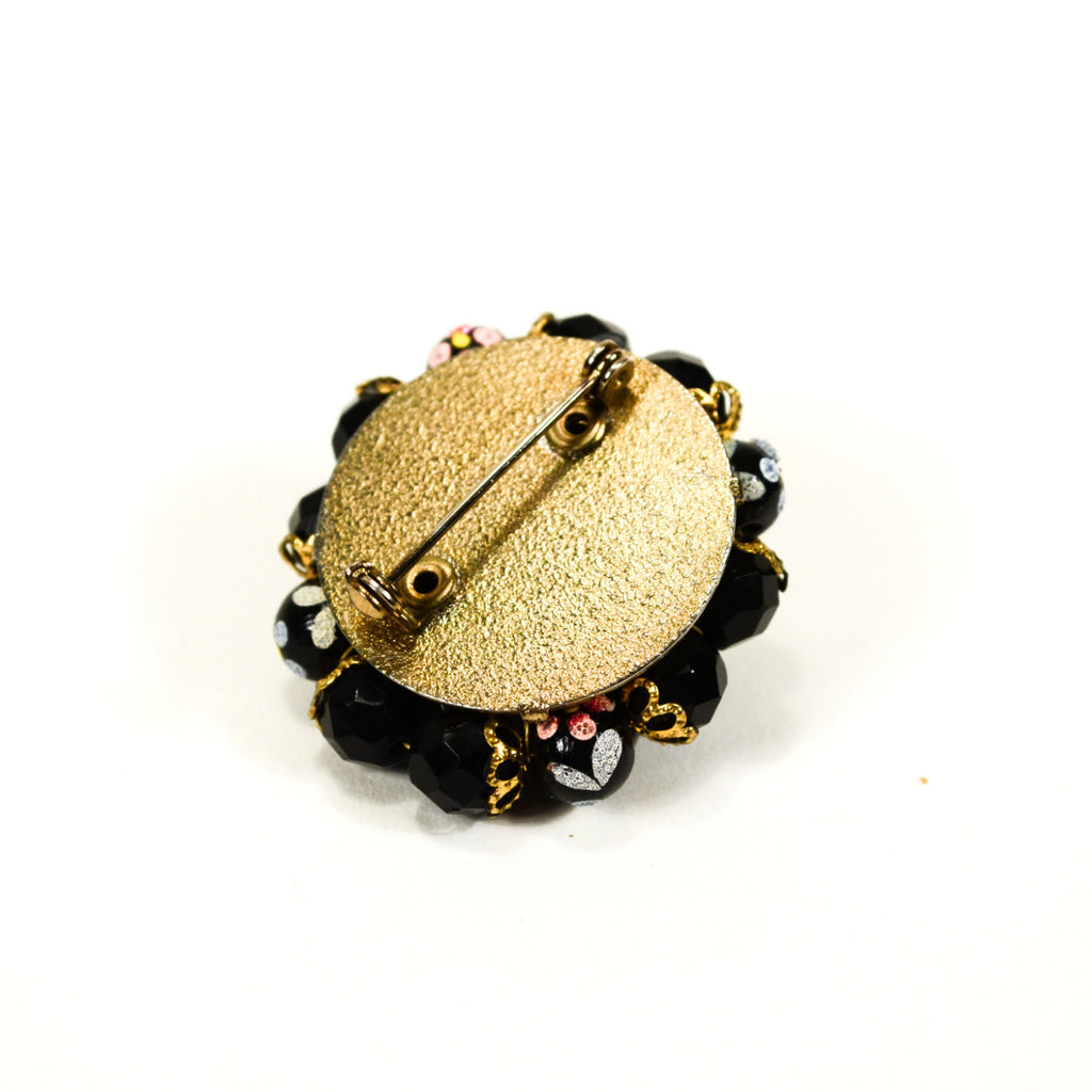 Black Bead Brooch with Hand Painted Floral Beads, Brooch - Vintage Meet Modern