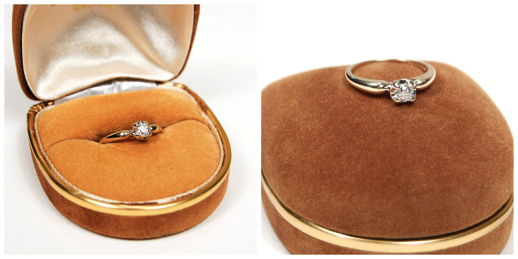 Diamond Engagement Ring set in 14kt Yellow Gold by Granat Brothers - Vintage Meet Modern  - 5