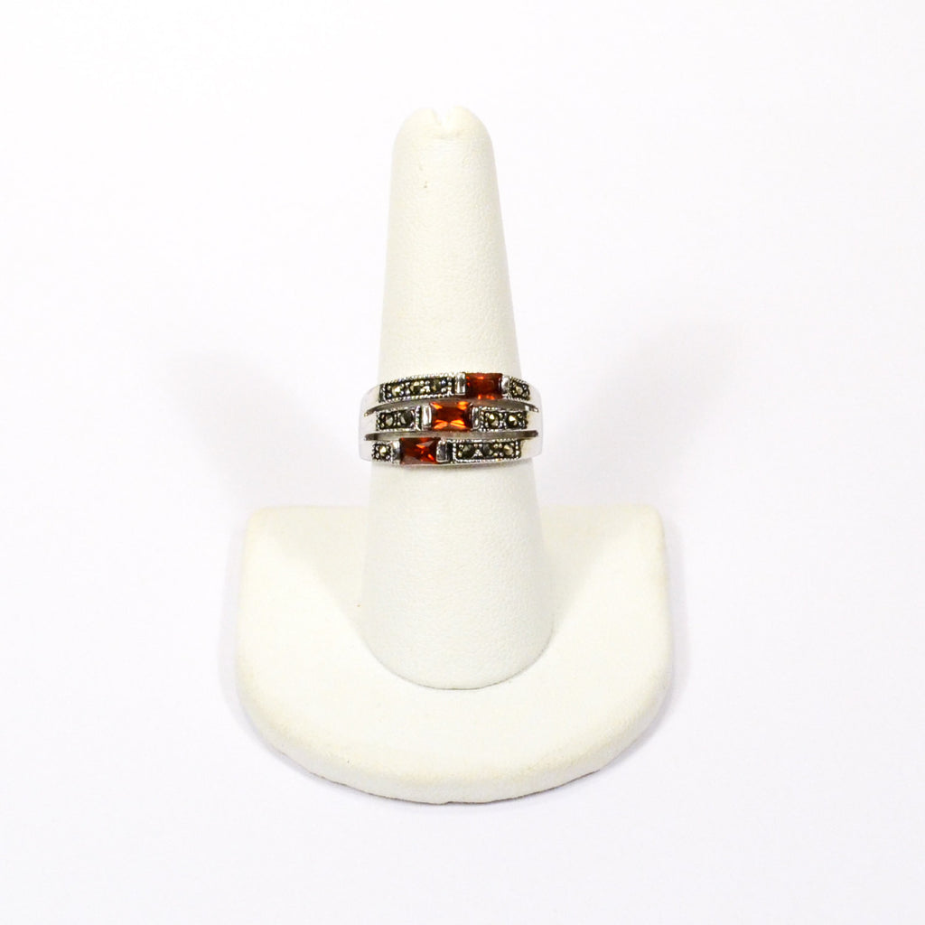 Garnet and Marcasite Sterling Silver Stacked Band Ring - Vintage Meet Modern  - 2