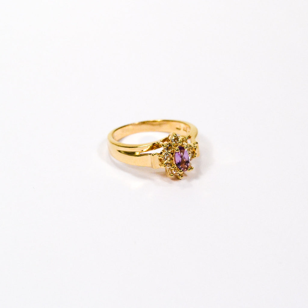 Amethyst and CZ Gold Plated Ring, Ring - Vintage Meet Modern