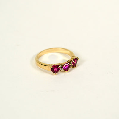 Pink CZ Heart Band Ring by Unsigned Beauty - Vintage Meet Modern - Chicago, Illinois