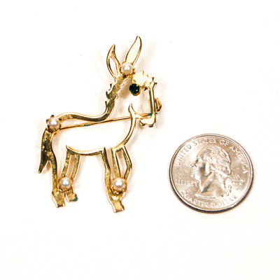Gold Mid Century Modern Donkey Brooch by Unsigned Beauty - Vintage Meet Modern Vintage Jewelry - Chicago, Illinois - #oldhollywoodglamour #vintagemeetmodern #designervintage #jewelrybox #antiquejewelry #vintagejewelry