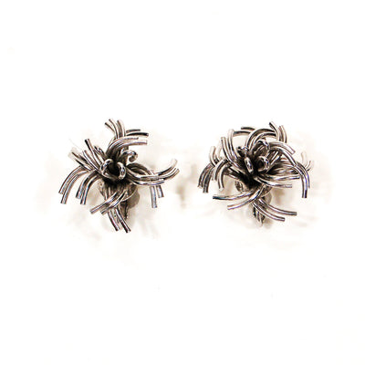 Mid Century Modern Silver Tone Atomic Starburst Earrings by Unsigned Beauty - Vintage Meet Modern - Chicago, Illinois