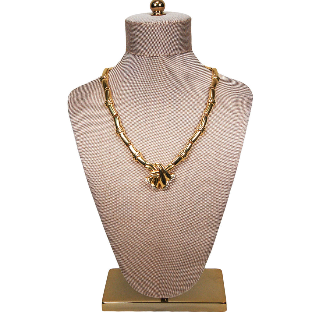 Gold Ribbon with Rhinestones Necklace - Vintage Meet Modern  - 1