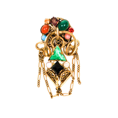 Colorful Art Glass, Czech Brooch, Victorian Revival, Antique Gold Tone, Carnelian, Jade, Cameos, Opal, Turquoise, Rhinestones by Unsigned Beauty - Vintage Meet Modern Vintage Jewelry - Chicago, Illinois - #oldhollywoodglamour #vintagemeetmodern #designervintage #jewelrybox #antiquejewelry #vintagejewelry