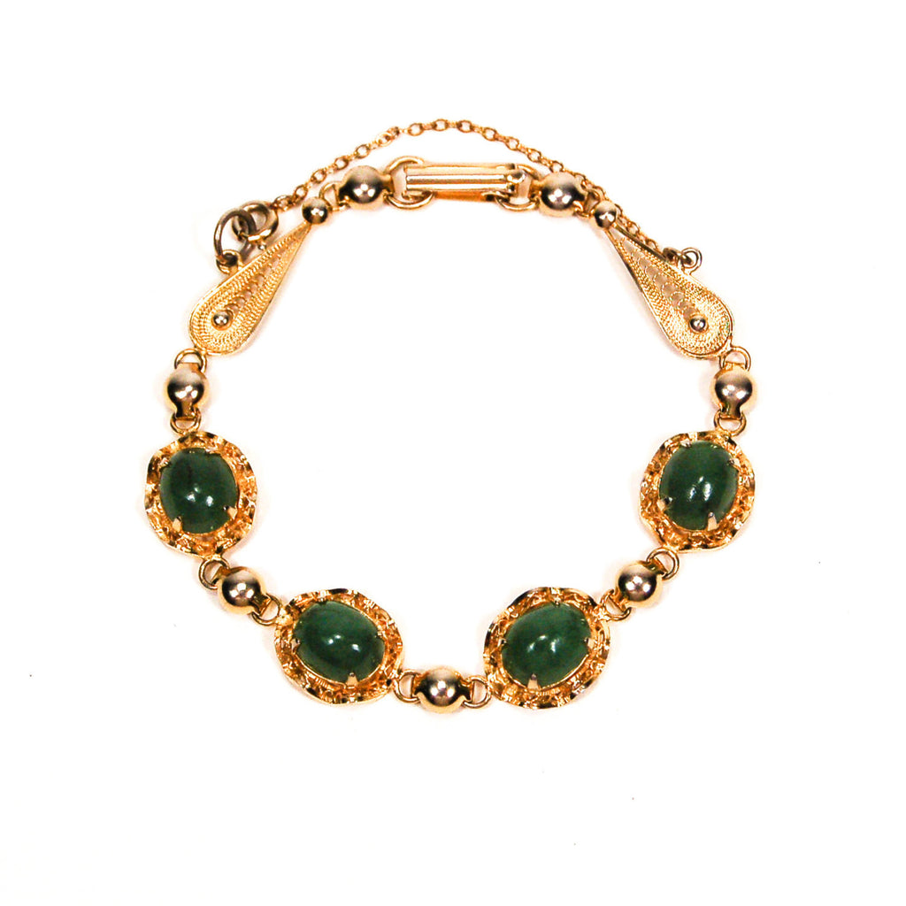 Gold Filled Green Jade Bracelet - Vintage Meet Modern  - 1