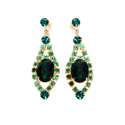 Old Hollywood Glam Green Rhinestone Chandelier Earrings by Unsigned Beauty - Vintage Meet Modern - Chicago, Illinois