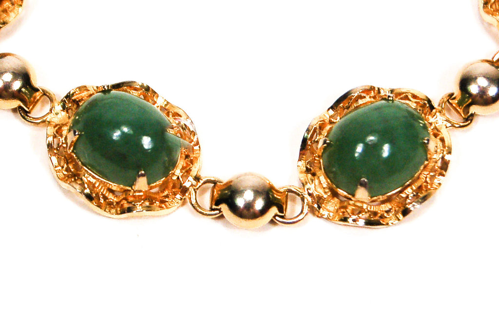 Gold Filled Green Jade Bracelet - Vintage Meet Modern  - 2
