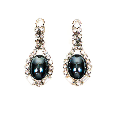 Rhinestone and Hematite Drop Statement Earrings by Unsigned Beauty - Vintage Meet Modern Vintage Jewelry - Chicago, Illinois - #oldhollywoodglamour #vintagemeetmodern #designervintage #jewelrybox #antiquejewelry #vintagejewelry