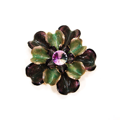 Purple and Green Enamel Flower Brooch by Unsigned Beauty - Vintage Meet Modern Vintage Jewelry - Chicago, Illinois - #oldhollywoodglamour #vintagemeetmodern #designervintage #jewelrybox #antiquejewelry #vintagejewelry