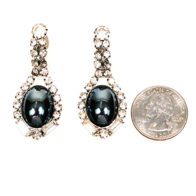Rhinestone and Hematite Drop Statement Earrings by Unsigned Beauty - Vintage Meet Modern - Chicago, Illinois