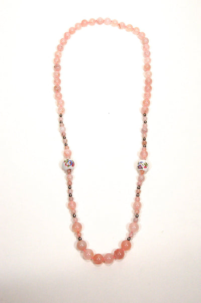 Rose Quartz and Porcelain Floral Bead Necklace by Unsigned Beauty - Vintage Meet Modern - Chicago, Illinois