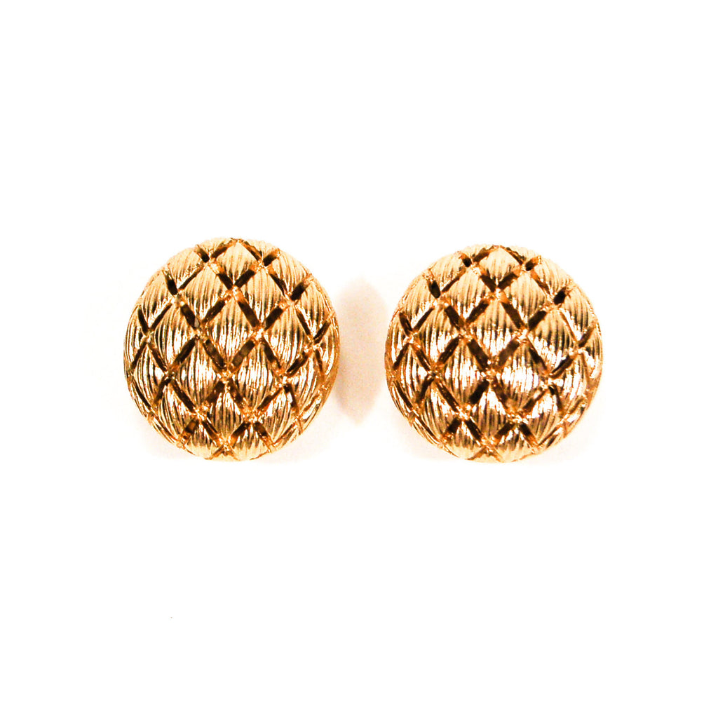 Gold Tone Round Basket Weave Earrings by Monet - Vintage Meet Modern  - 1