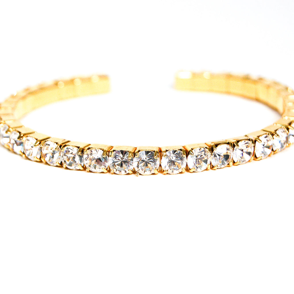 Rhinestone Bangle Bracelet, - Vintage Meet Modern  - 3