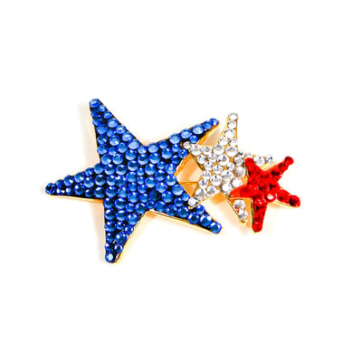 Red, White, Blue Rhinestone Star Brooch by Unsigned Beauty - Vintage Meet Modern Vintage Jewelry - Chicago, Illinois - #oldhollywoodglamour #vintagemeetmodern #designervintage #jewelrybox #antiquejewelry #vintagejewelry