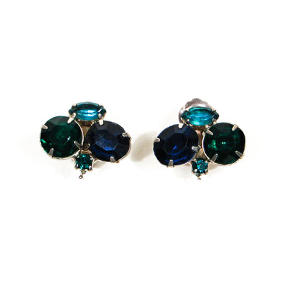 Peacock Blue Green Triplet Rhinestone Earrings by Unsigned Beauty - Vintage Meet Modern - Chicago, Illinois