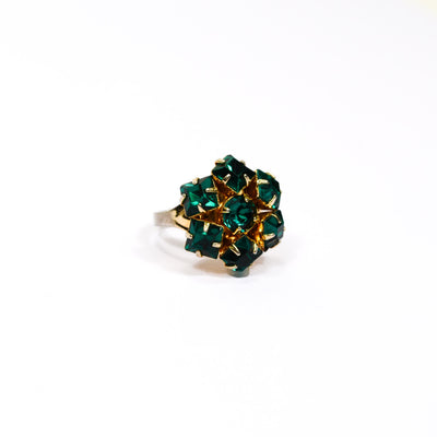 Emerald Green Rhinestone Statement Ring by Unsigned Beauty - Vintage Meet Modern - Chicago, Illinois