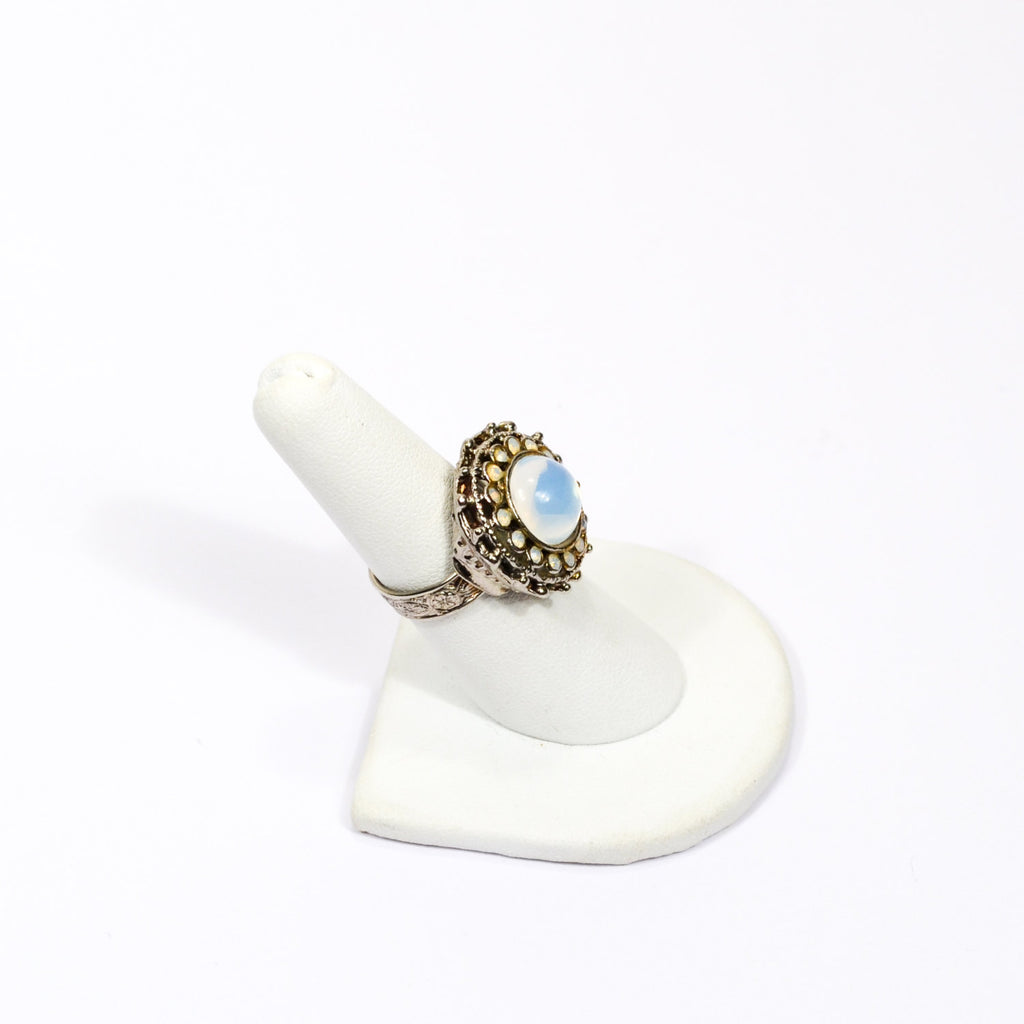 Opaline Glass Statement Ring - Vintage Meet Modern  - 3