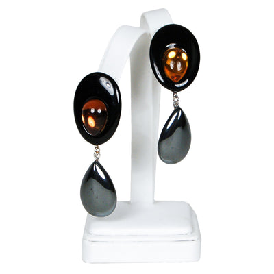 Wendy Gell Statement Earrings in Black with Amber Glass & Hematite by Wendy Gell - Vintage Meet Modern - Chicago, Illinois