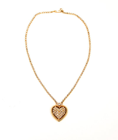 Rhinestones Heart Necklace in Gold Tone by Unsigned Beauty - Vintage Meet Modern Vintage Jewelry - Chicago, Illinois - #oldhollywoodglamour #vintagemeetmodern #designervintage #jewelrybox #antiquejewelry #vintagejewelry