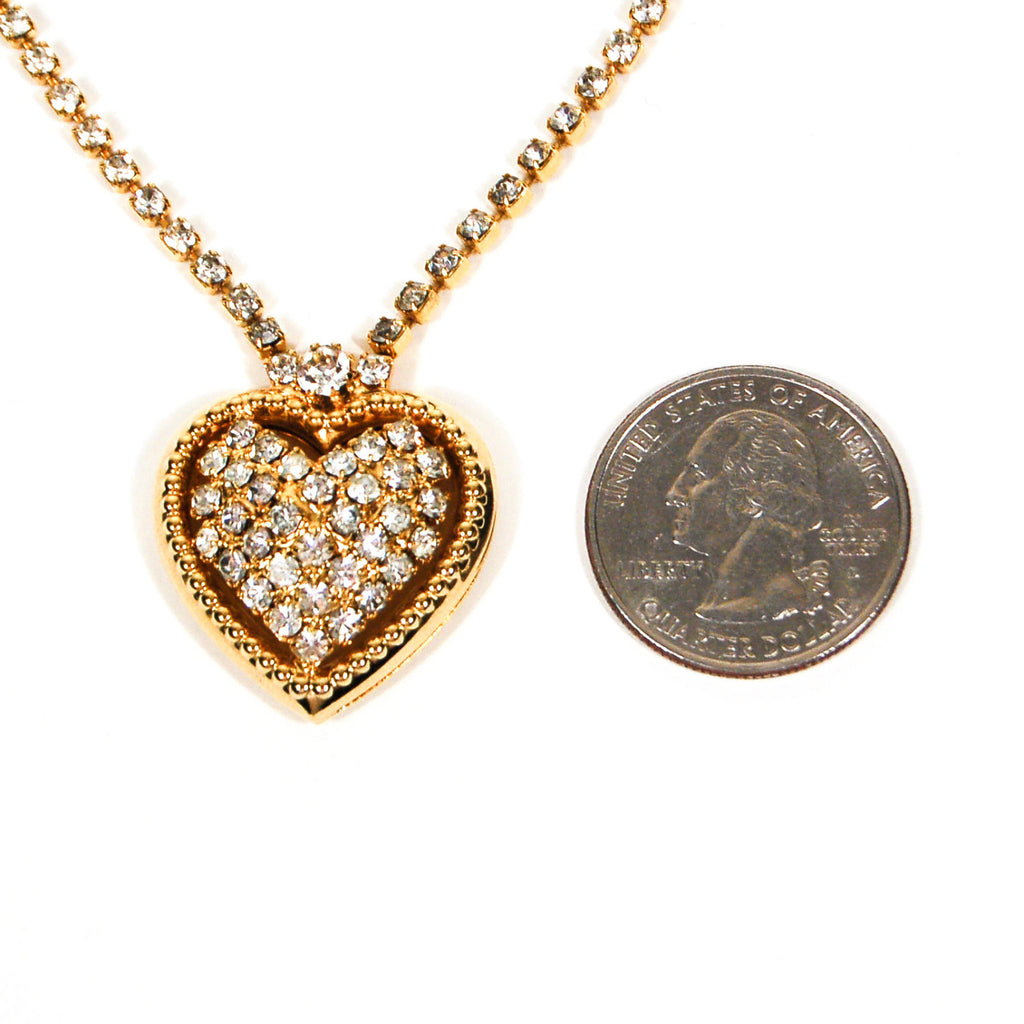 Rhinestones Heart Necklace in Gold Tone - Vintage Meet Modern  - 3