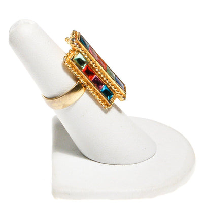 Uncas Colorful Rhinestone Statement Ring by Uncas - Vintage Meet Modern Vintage Jewelry - Chicago, Illinois - #oldhollywoodglamour #vintagemeetmodern #designervintage #jewelrybox #antiquejewelry #vintagejewelry