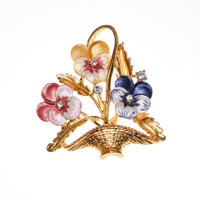 Pansies in a Basket Brooch by Unsigned Beauty - Vintage Meet Modern Vintage Jewelry - Chicago, Illinois - #oldhollywoodglamour #vintagemeetmodern #designervintage #jewelrybox #antiquejewelry #vintagejewelry