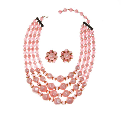 Pink Multi Strand Chunky Bead Necklace by Unsigned Beauty - Vintage Meet Modern - Chicago, Illinois