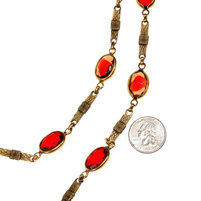 Corocraft Ruby Red Bezel Set Crystal Necklace by Corocraft - Vintage Meet Modern - Chicago, Illinois