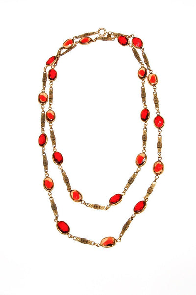 Corocraft Ruby Red Bezel Set Crystal Necklace by Corocraft - Vintage Meet Modern Vintage Jewelry - Chicago, Illinois - #oldhollywoodglamour #vintagemeetmodern #designervintage #jewelrybox #antiquejewelry #vintagejewelry