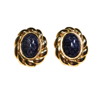Lapis Art Glass and Gold Earrings by Unsigned Beauty - Vintage Meet Modern - Chicago, Illinois