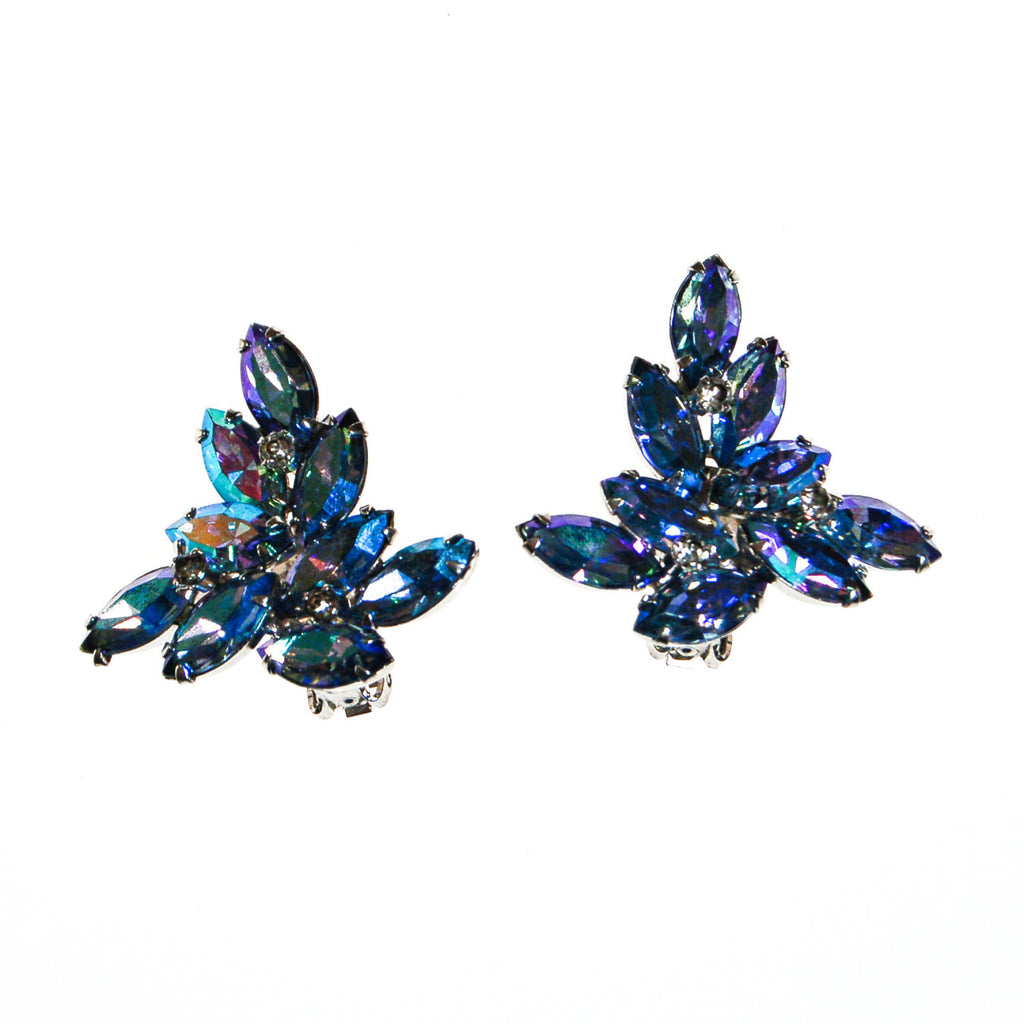 Blue Rhinestone Statement Earrings with Aurora Borealis Finish, Earrings - Vintage Meet Modern