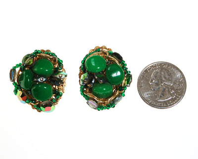 Green Rhinestone Earrings, Statement Earrings, by Unsigned Beauty - Vintage Meet Modern Vintage Jewelry - Chicago, Illinois - #oldhollywoodglamour #vintagemeetmodern #designervintage #jewelrybox #antiquejewelry #vintagejewelry