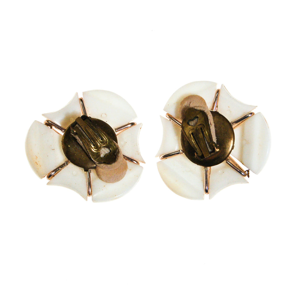 Mod White Thermoset Statement Earrings - Vintage Meet Modern  - 4