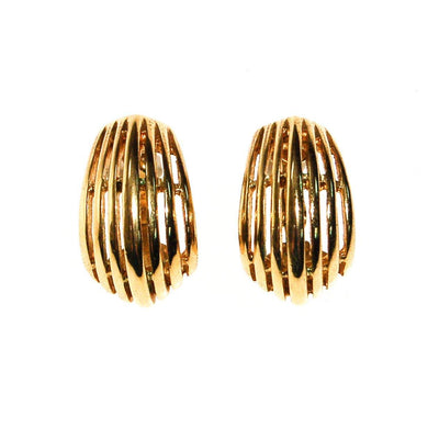 Gold Ribbed Hoop Earrings by Napier by Napier - Vintage Meet Modern Vintage Jewelry - Chicago, Illinois - #oldhollywoodglamour #vintagemeetmodern #designervintage #jewelrybox #antiquejewelry #vintagejewelry