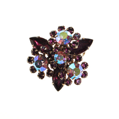Purple Rhinestone Brooch, Aurora Brorealis by Unsigned Beauty - Vintage Meet Modern Vintage Jewelry - Chicago, Illinois - #oldhollywoodglamour #vintagemeetmodern #designervintage #jewelrybox #antiquejewelry #vintagejewelry