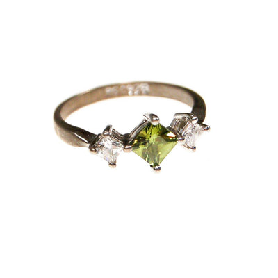 Green and Diamante CZ Ring, RS Covenant, Sterling Silver, Princess Cut Stones, Ring Size 8, Three Stone Ring by Sterling Silver - Vintage Meet Modern - Chicago, Illinois