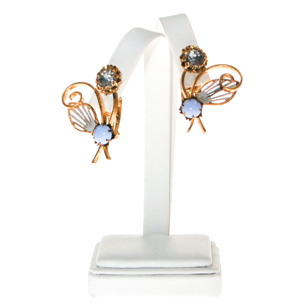 Blue Rhinestone and Moosnstone Flower Earrings - Vintage Meet Modern  - 4