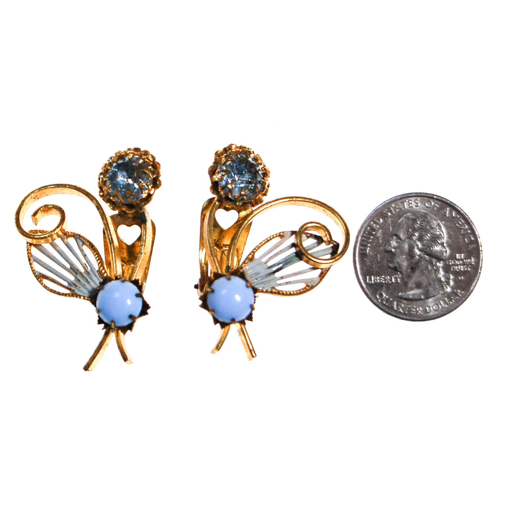 Blue Rhinestone and Moosnstone Flower Earrings - Vintage Meet Modern  - 2