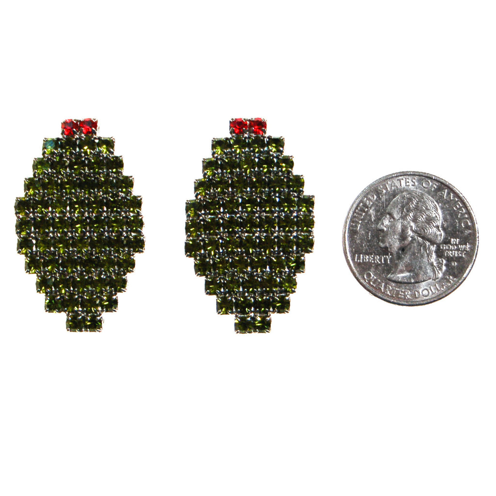 Bauer Olive Rhinestone Earrings - Vintage Meet Modern  - 3