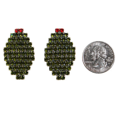 Bauer Olive Rhinestone Earrings by Bauer - Vintage Meet Modern - Chicago, Illinois