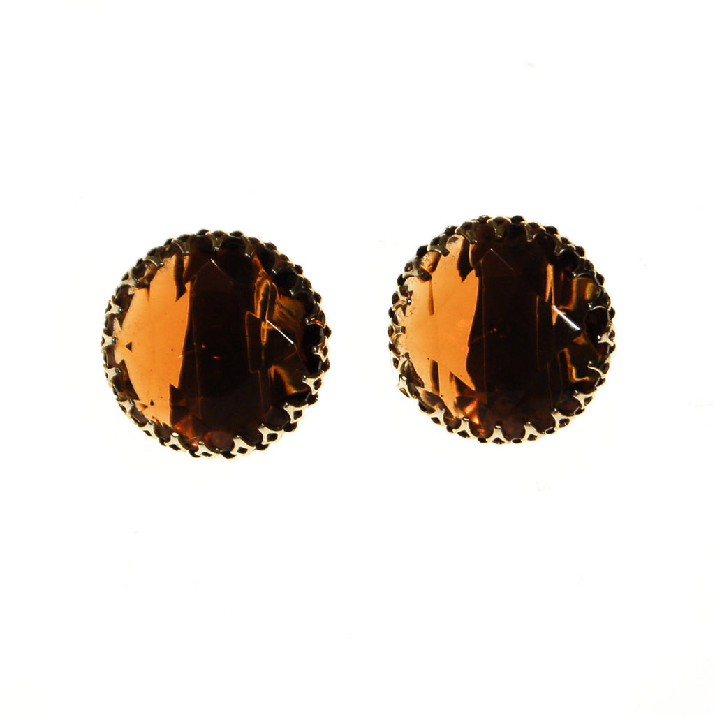 Smokey Topaz Crystal Statement Earrings - Vintage Meet Modern  - 1