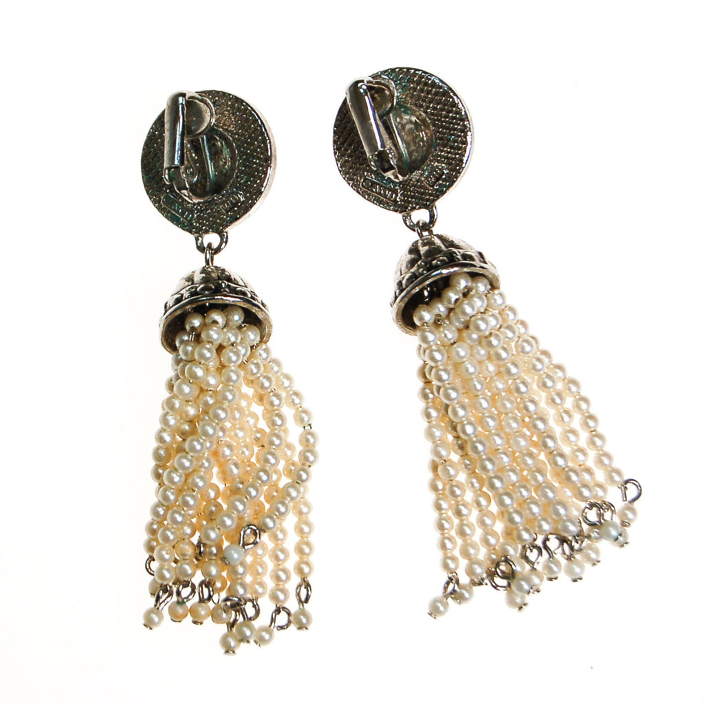 Art Deco Inspired Pearl and Rhinestone Tassel Earrings by Avon - Vintage Meet Modern  - 4
