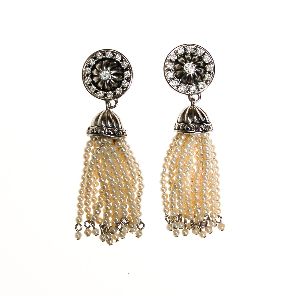 Art Deco Inspired Pearl and Rhinestone Tassel Earrings by Avon - Vintage Meet Modern  - 2