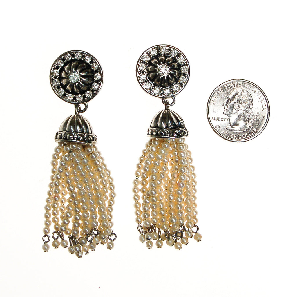 Art Deco Inspired Pearl and Rhinestone Tassel Earrings by Avon - Vintage Meet Modern  - 3