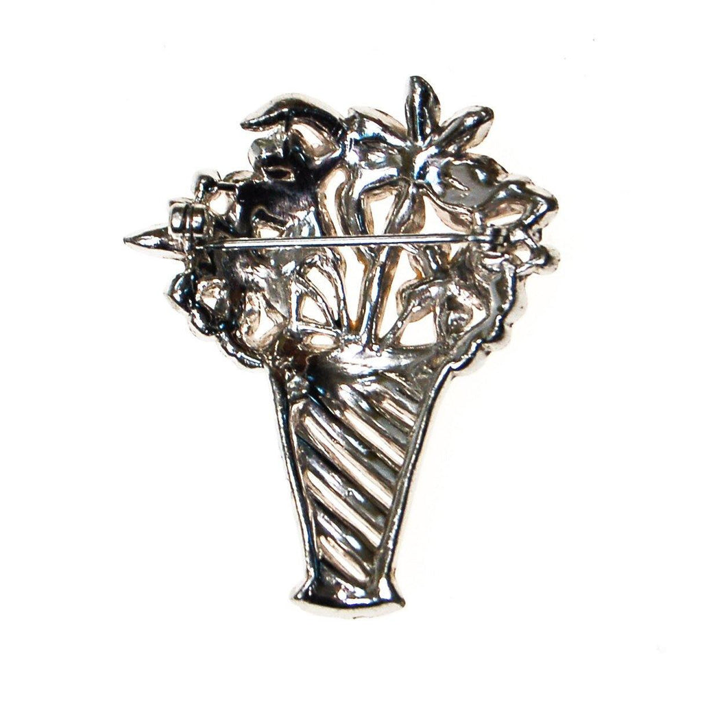 Art Deco Rhinestone Basket of Flowers Brooch - Vintage Meet Modern  - 3