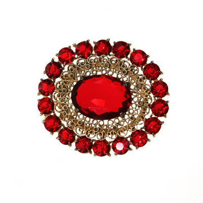 Vintage Czech Red Crystal and Rhinestone Brooch by Czech - Vintage Meet Modern - Chicago, Illinois